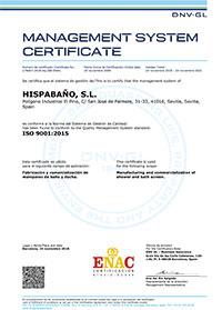 Certificates ISO 9001:2015 - Hispabaño